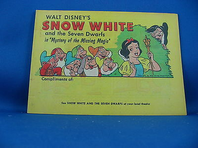 SNOW WHITE AND THE SEVEN DWARFS VF+ Mystery of the Missing Magic Promo 1958