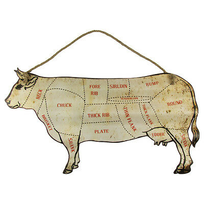 """Large 30"""" Cattle Beef Cuts Butcher Shop Chart Sign Diagram Home BBQ Wall Decor"""
