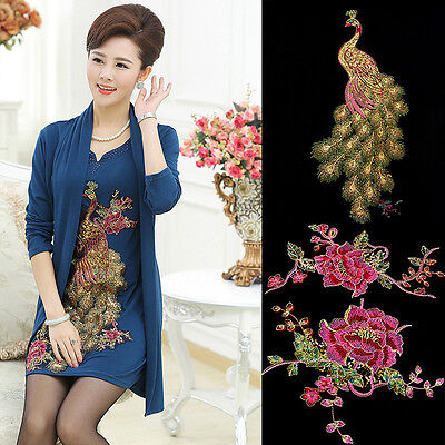 Embroidered Flower Sequins Peacock Applique Sewing Trim Garment Decoration
