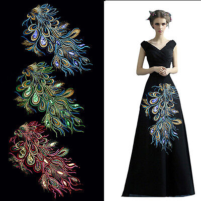 DIY Craft Embroidered Sequins Peacock Cloth Feather Applique Sew Trim 60X35cm