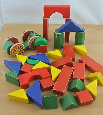 Vintage Retro Coloured Wooden Building Blocks + Brio Pull Car Childrens Toy