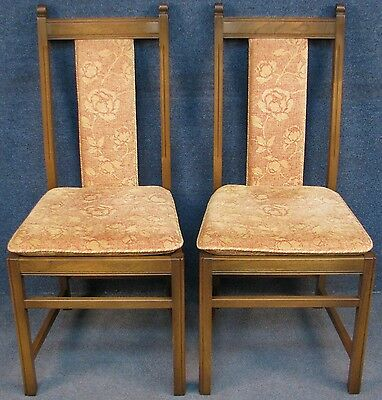 Pair Of Ercol Elm & Beech Baluster 517 Upholstered Back Kitchen / Dining Chairs