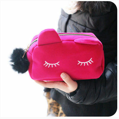 Lovely Cartoon Cat Cosmetic Makeup Storage Bag Pen Pencil Pouch Case Girl