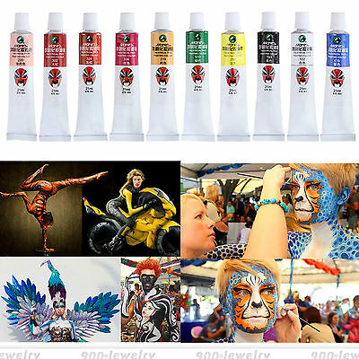 Halloween Party Face Body Painting Cosplay Make Up Peking-Oper Bodypaint 10Farbe