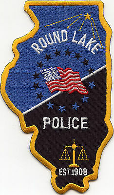 ROUND LAKE ILLINOIS IL state shape shaped POLICE PATCH