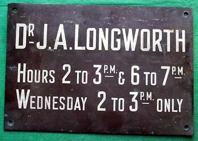 c1900 Brass Vintage Sign Plaque : Glasgow Dr J A Longworth Surgeon Physician