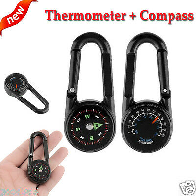 Outdoor Multifunctional Hiking Metal Carabiner Mini Compass Thermometer Keychain