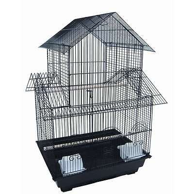 "YML 3/8"" Bar Spacing Pagoda Small Bird Cage - 18""x14"" In Black - 5844BLK"