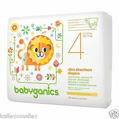NEW Babyganics Ultra Absorbent Disposable Diapers Size 4 (22-37 lbs) - 27 count