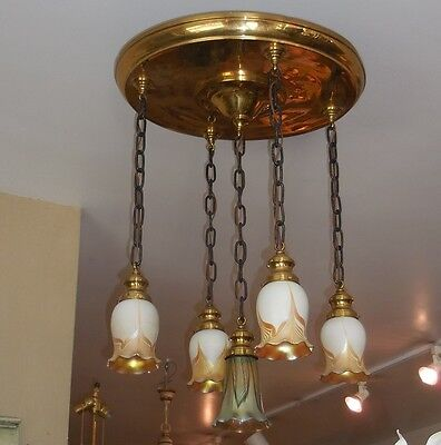 Antique Chandelier w Signed Steuben Pulled Feather Shades.