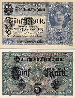 GERMANY 5 MARK 1917 UNC-  P.56 With COMPLETELY WATERMARK