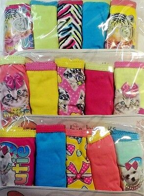 Underwear Girls Cotton Panties 5 Pack Choice Cat, Dog or Tiger & size 6 thru 14