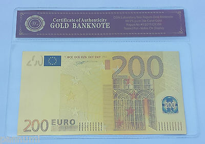 Colourised 200 EURO 24K Gold Plated Banknote with *COA* (n63c)