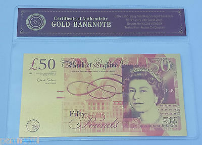 Colourised £50 GBP 24K Gold Plated Banknote With *COA* (n26c)