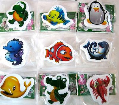 Bulk Lot x 5 Mixed Cartoon Marine Under The Sea Rubber Erasers Kids Party Favors