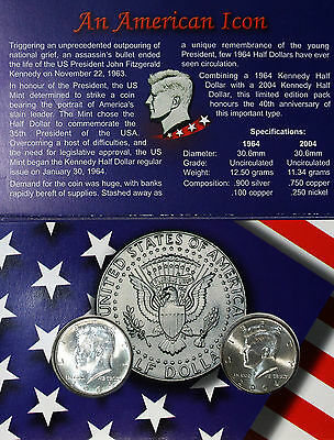 US KENNEDY HALF DOLLAR LIMITED EDITION PACK OF 2 : 1964 Silver &  2004 UNC/BU