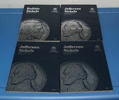 Lot Of 4 Whitman Coin Folders Jefferson Nickels (3) Buffalo Nickels (1) No Coins