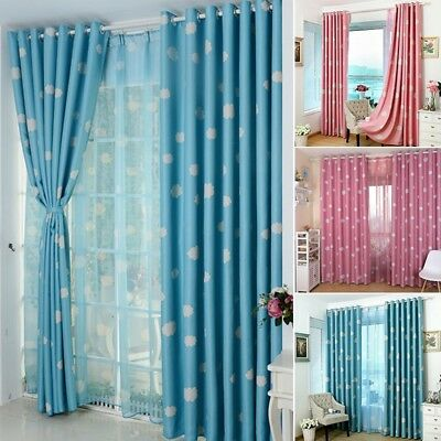 Newly Blackout Curtain Cloud Printed Baby Boy Girl Thick Heavy Eyelet Drapes 1PC