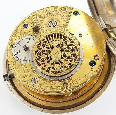 .1813 Superb Movement, Huge Pair Case Verge Fusee English S/silver Pocket Watch