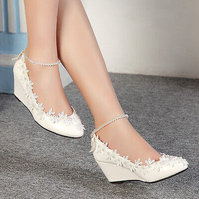 Lace white ivory crystal Wedding shoes Bridal flat low high heel wedge size 4-10