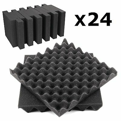 24 Sheets Tiles Acoustic Foam Panels Treatment Studio Sound Proofing Egg Profile
