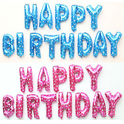 """13Pcs """"HAPPY BIRTHDAY"""" Letters 16"""" Foil Balloons For Birthday Party Decoration"""