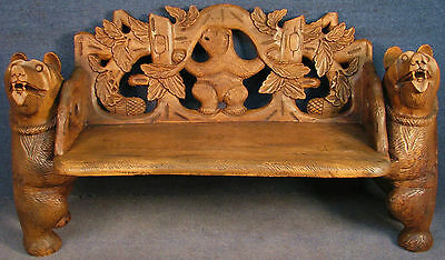 Bavarian / Black Forest Influenced Carved Solid Walnut Bear Bench / Hall Seat