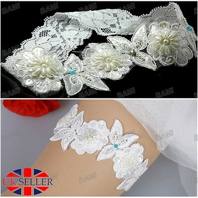 UK Bridal Lace Wedding Garter Embroidered Crystal Blue Pearl Flower Beaded Bride