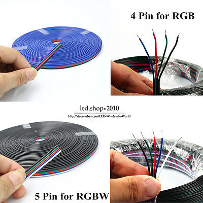 4pin/5pin Channels cables 22awg smd 5050 3528 RGB extension electric cable