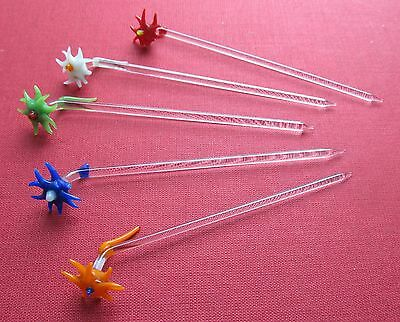 5 Alte GLASSTICKS Blumen Glasspies Floral Cocktail Bar Getränke