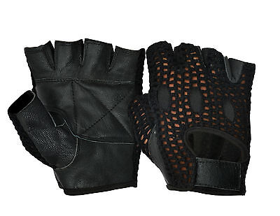 Weight Lifting Gloves Real Leather Padded Cotton Crochet Back Gym Fitness Sports