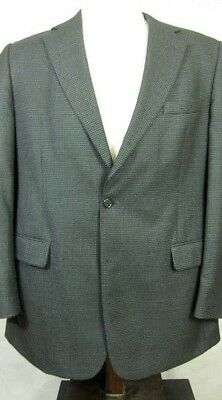 GORGEOUS Brooks Brothers Black and Blue Houndstooth Wool Sport Coat 44L