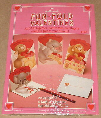 Hallmark Fun Fold Valentine Cards NIP - Bunny Rabbit, Cat, Squirrel & Koala
