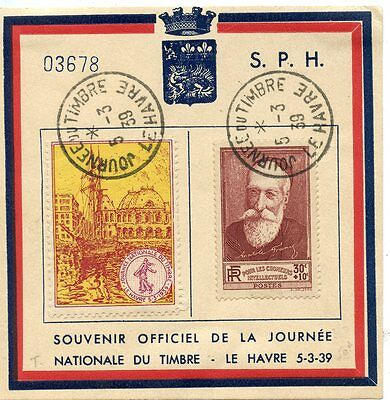 Souvenir Officiel De La Journee Nationale Du Timbre Le Havre 1939 + Vignette