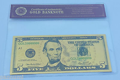Colourised $5 USD 24K Gold Plated Banknote With *COA* (n53c)