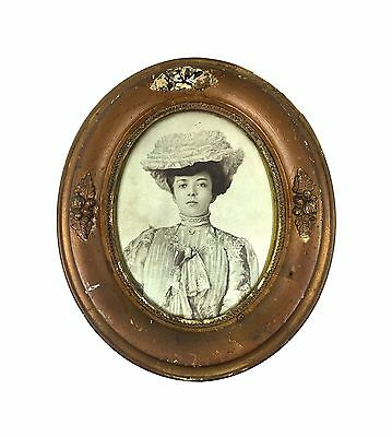 Antique Vintage Victorian Era 1900's 1905 Picture in Oval Frame Rustic Primitive