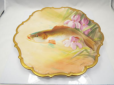 """Antique Hand Painted Flambeau Limoges Fish & Flower Plate w/ Gold Rim, 10 3/4"""""""