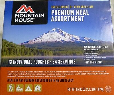 Mountain House Premium Meal Assortment 13 pouch/ 34 servings New!