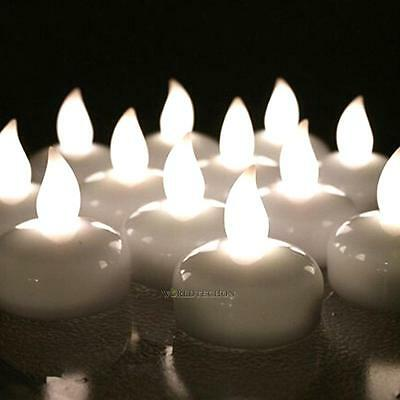 12 × Waterproof LED Floating Tea Light Flameless Candle Wedding Party Decoration