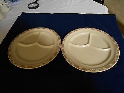 Two Vintage Syracuse China NUTMEG Brown Design Grill Plates Restaurant Ware HTF