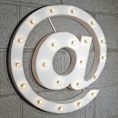 AT SYMBOL @ Rustic Metal Vintage Inspired Marquee Light Up Sign - 20 COLORS!