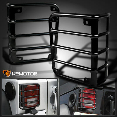 07-15 Jeep Wrangler JK Black Steel Rear Tail Lights Lamps Guards Cover 2PC Pair