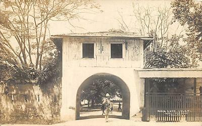 RPPC MAIN GATE JOLO PHILIPPINES POLICE OR SOLDIER REAL PHOTO POSTCARD (c. 1910)