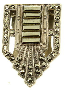 """Antique Deco Sterling Marcasite Dress Clip Hair Pin 1920's At It's Best! 1"""""""