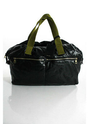 Celine Black Leather Gold Tone Doubvle Handle Puffer Duffle Travel Bag