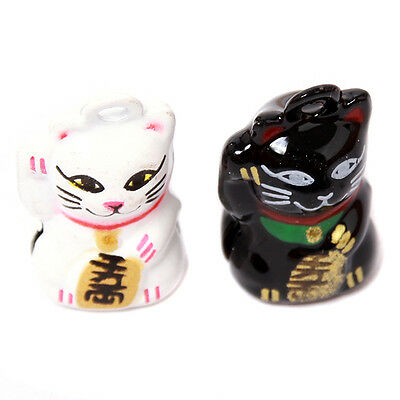 4pcs Black/White Lucky Cat Brass Jingle Bells Beads Fit Christmas Decoration C
