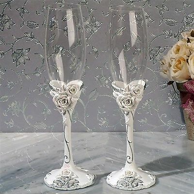 Elegant Rose Toasting Flutes Set Sculpted Roses Design Wedding Toasting Glasses