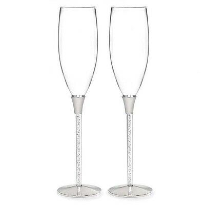 Wedding Glittering Beads Champagne Flutes Set of 2 Toasting Glasses