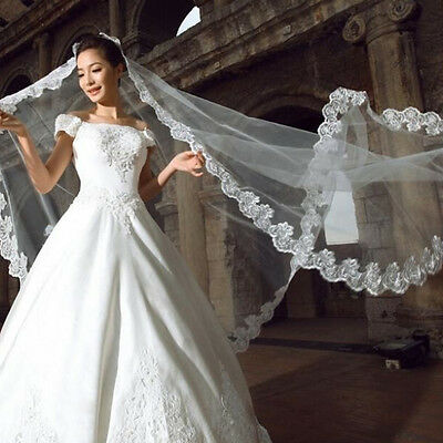 3 Meters Long Lace Edge Cathedral Wedding Gown Bridal White Tulle Veil TR