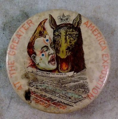 Antique 1899 The Greater American Exposition PINBACK Omaha Ne CLOWN & HORSE